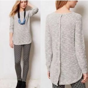 SPARROW | Heathered Gray Back Button Sweater Fall